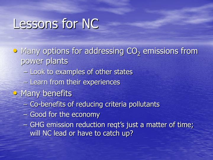 Lessons for NC