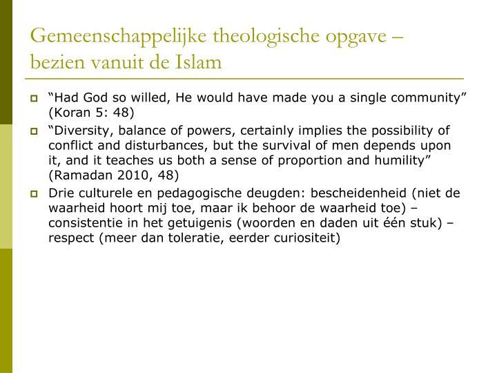 Gemeenschappelijke theologische opgave –