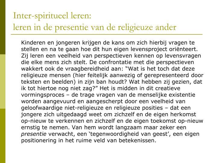 Inter-spiritueel leren: