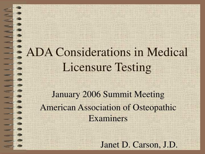 ADA Considerations in Medical Licensure Testing