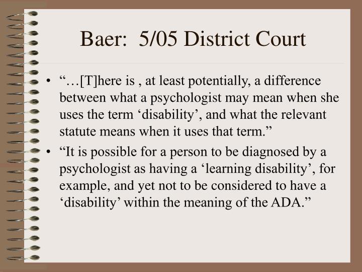 Baer:  5/05 District Court