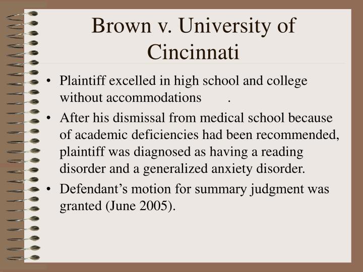 Brown v. University of Cincinnati
