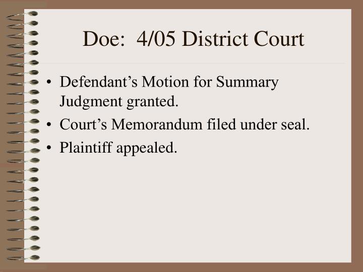 Doe:  4/05 District Court