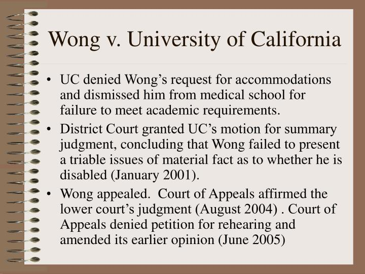 Wong v. University of California