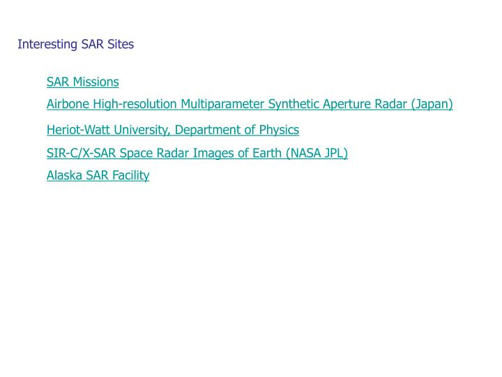 Interesting SAR Sites