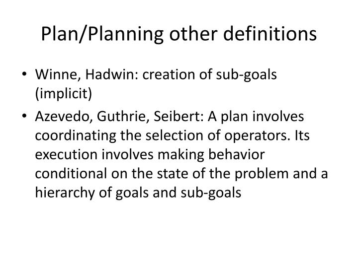 Plan/Planning other definitions