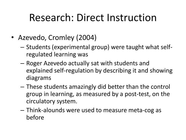 Research: Direct Instruction