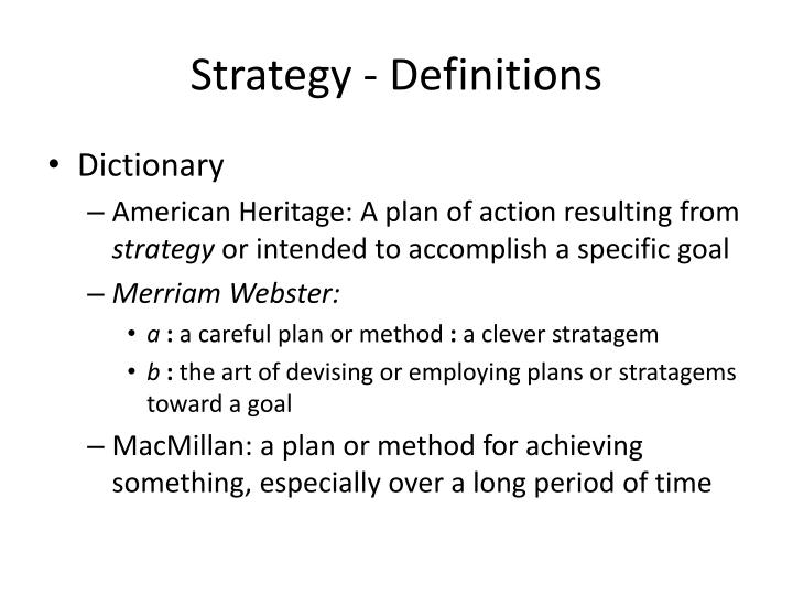 Strategy - Definitions