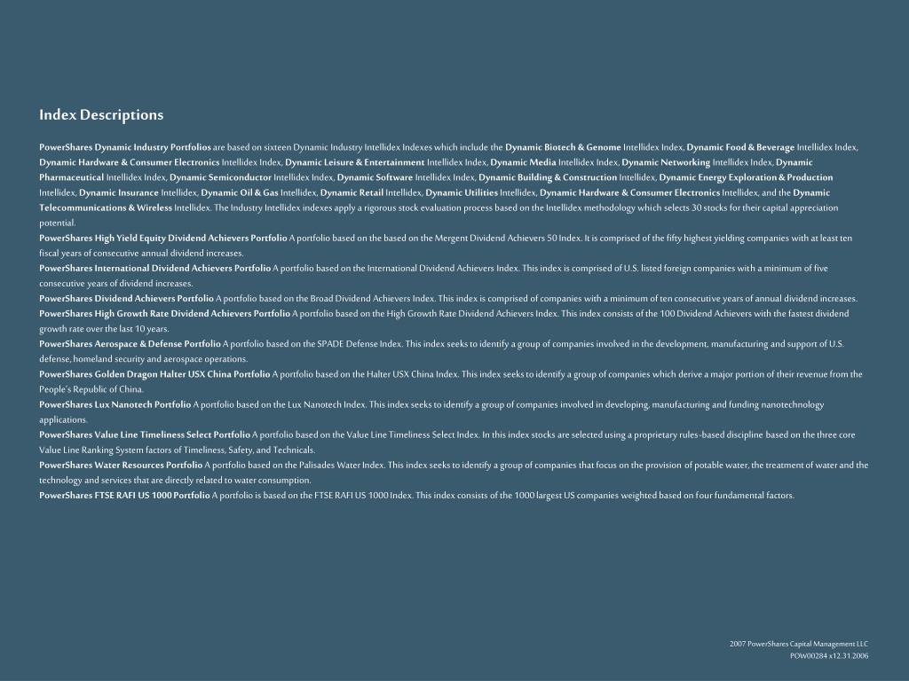 Index Descriptions