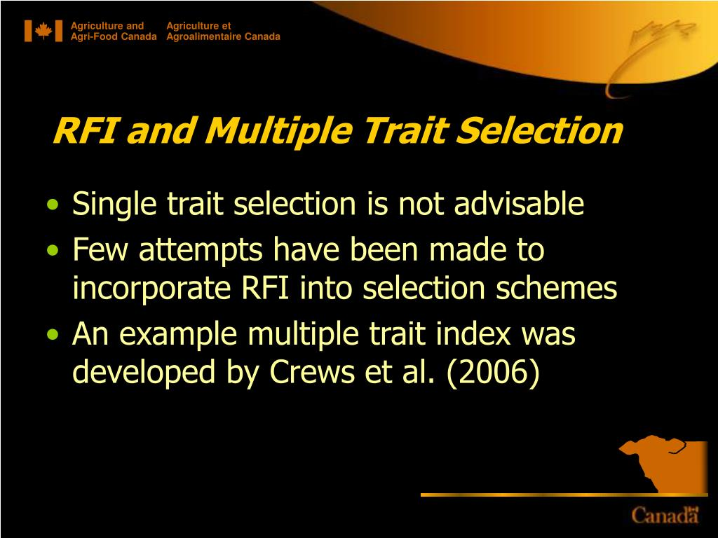 RFI and Multiple Trait Selection