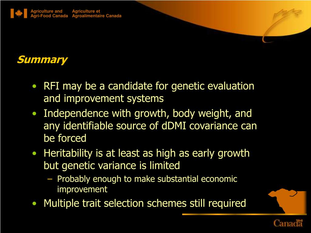 RFI may be a candidate for genetic evaluation and improvement systems
