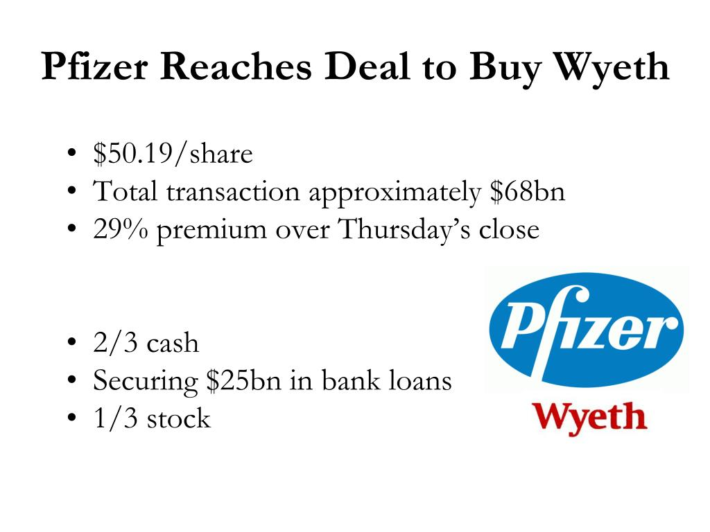 Pfizer Reaches Deal to Buy Wyeth