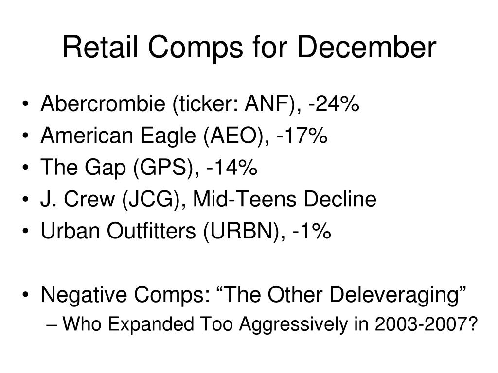 Retail Comps for December