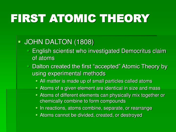 FIRST ATOMIC THEORY