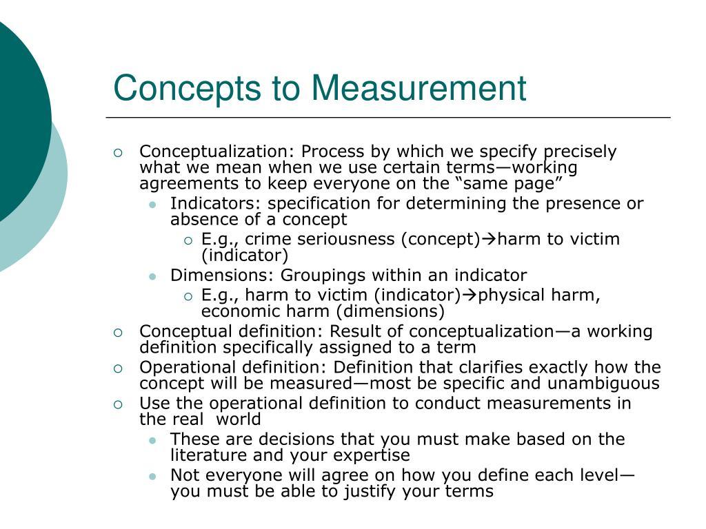 Concepts to Measurement