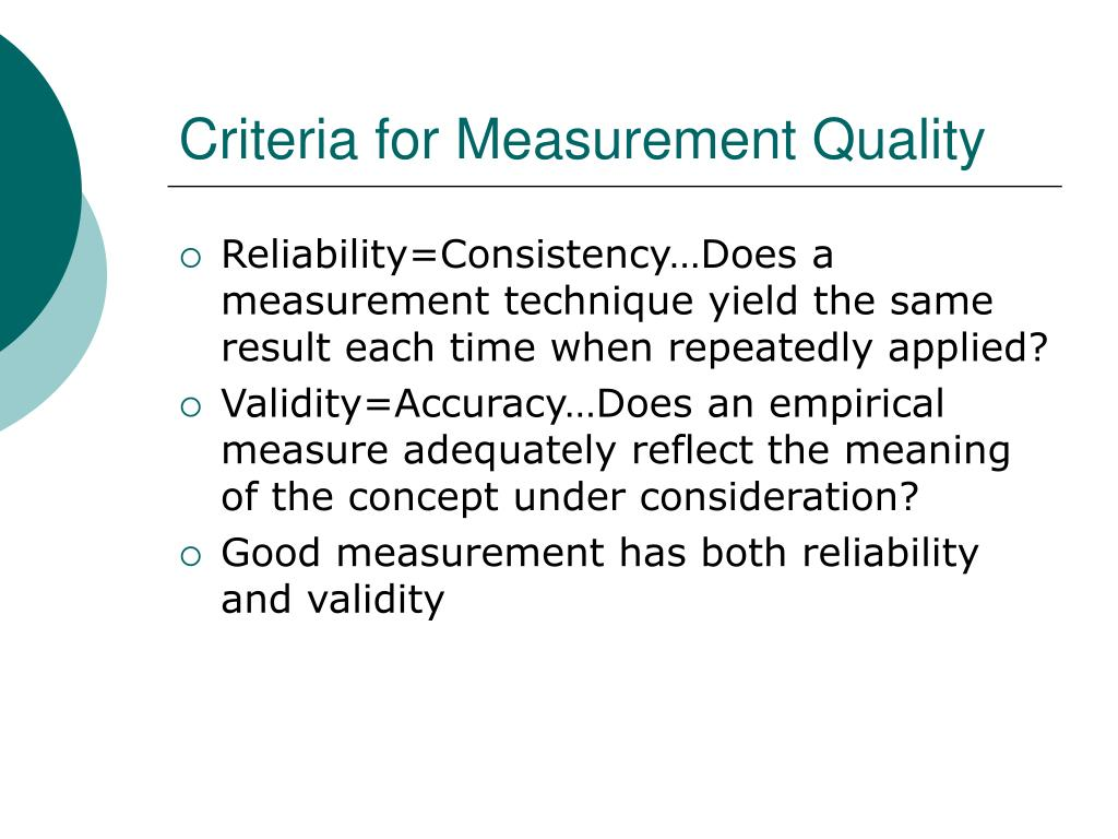 Criteria for Measurement Quality