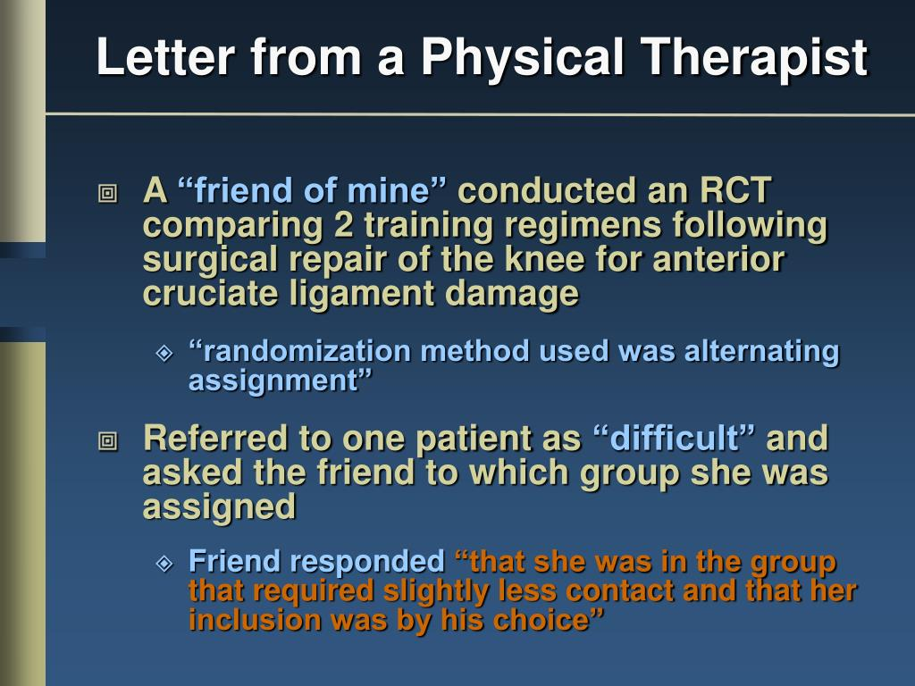 Letter from a Physical Therapist