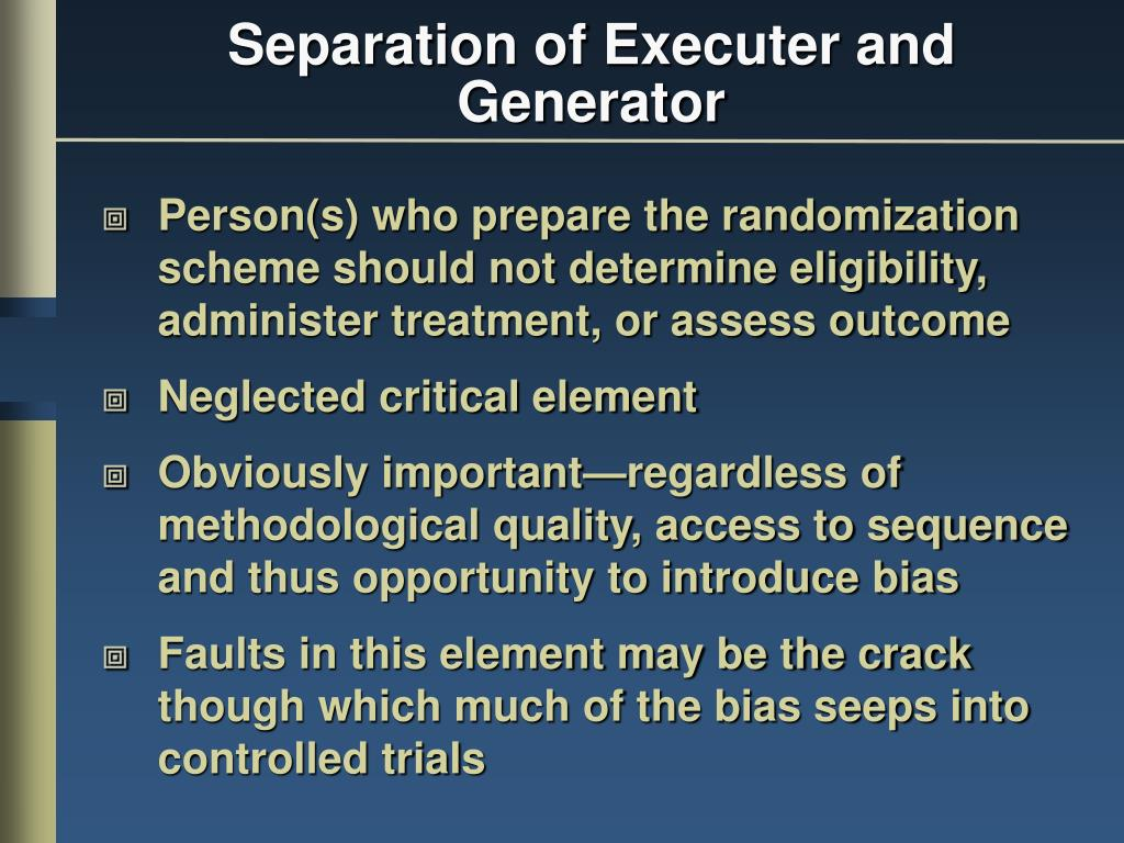 Separation of Executer and Generator