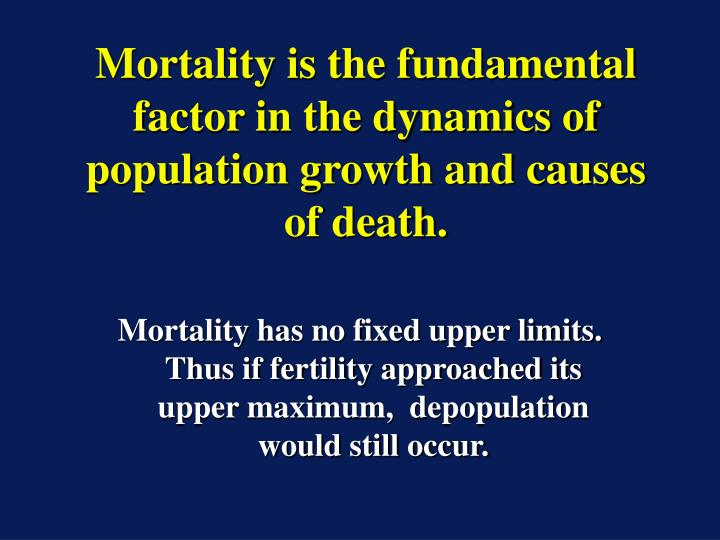 Mortality is the fundamental factor in the dynamics of population growth and causes of death.