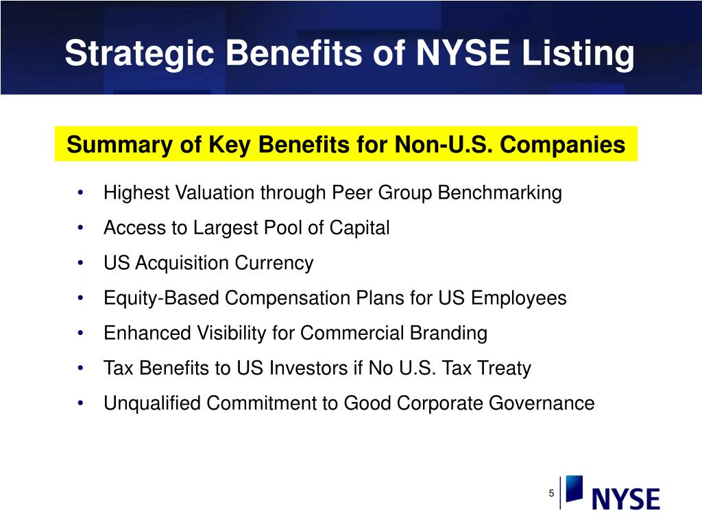 Strategic Benefits of NYSE Listing