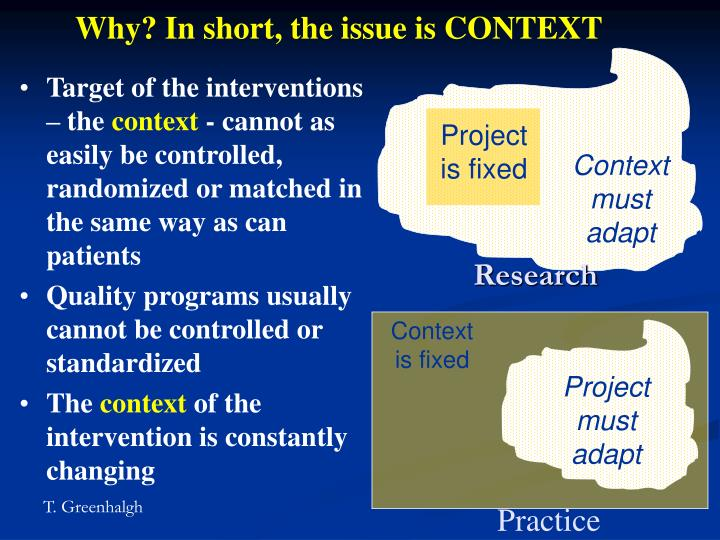 Why? In short, the issue is CONTEXT