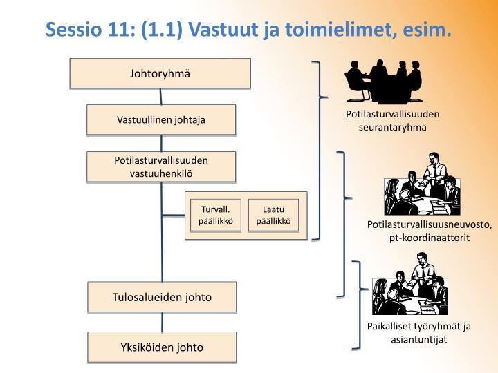 Sessio 11: (1.1) Vastuut ja toimielimet, esim.