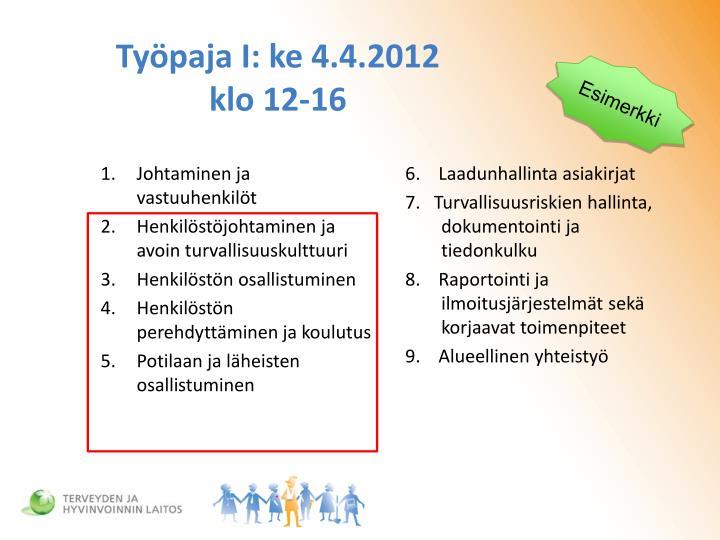 Työpaja I: ke 4.4.2012