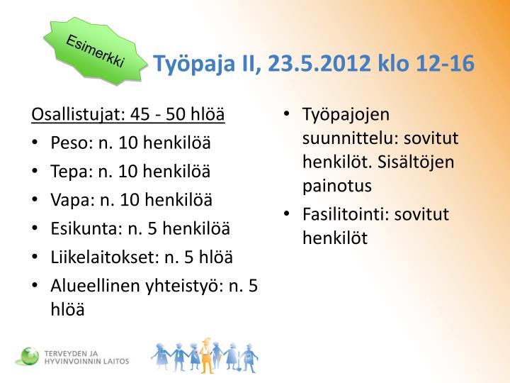 Työpaja II, 23.5.2012 klo 12-16