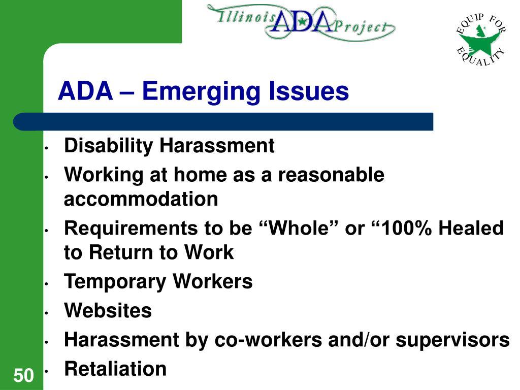 ADA – Emerging Issues