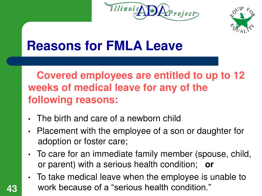 Reasons for FMLA Leave
