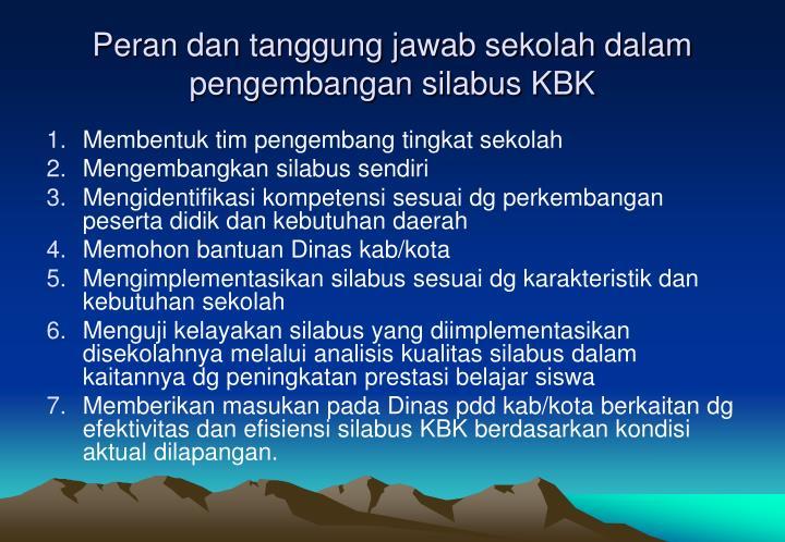 Peran dan tanggung jawab sekolah dalam pengembangan silabus KBK