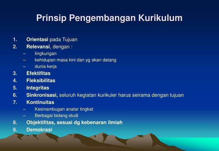 Prinsip Pengembangan Kurikulum