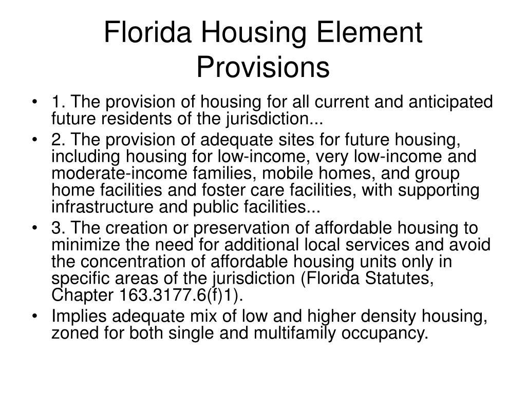 Florida Housing Element Provisions