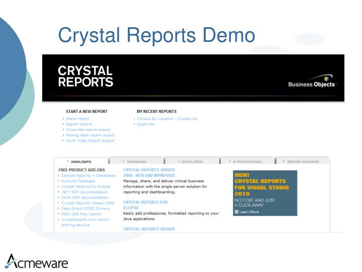 Crystal Reports Demo