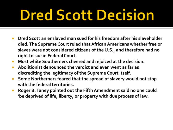 an analysis of the dred scotts decision On this day in 1857, the united states supreme court issues a decision in the  dred scott case, affirming the right of slave owners to take their slaves into the.
