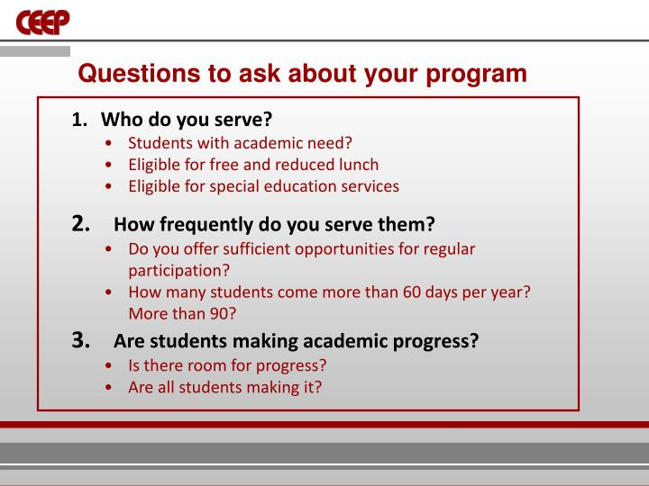 Questions to ask about your program