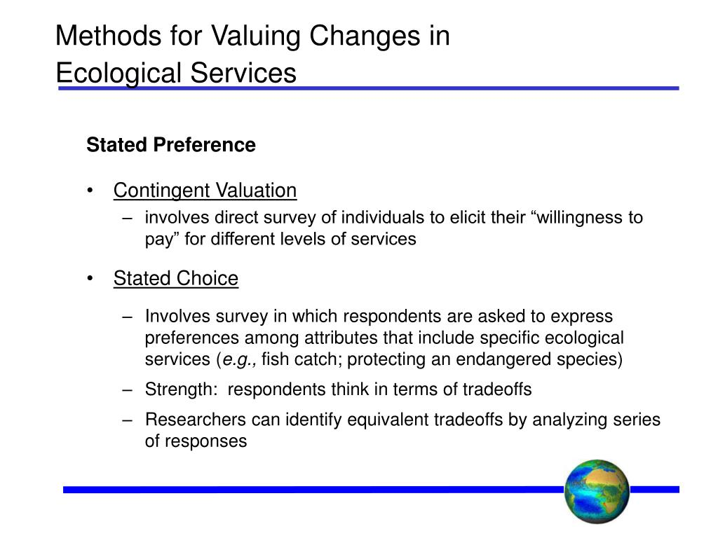 Methods for Valuing Changes in Ecological Services
