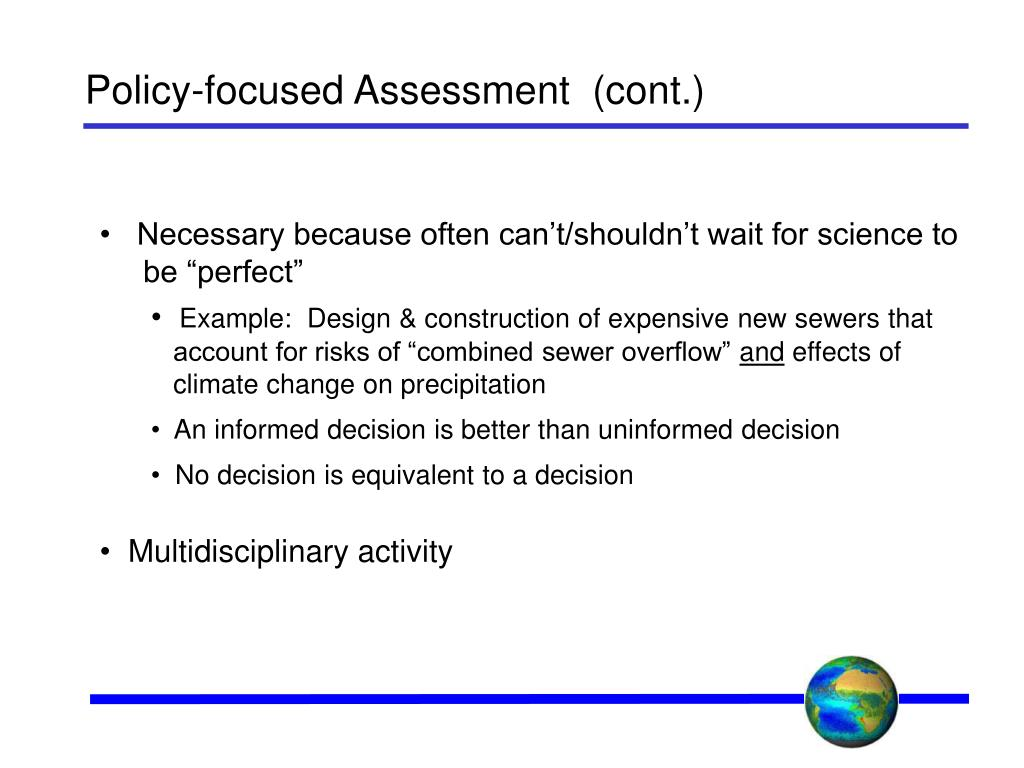 Policy-focused Assessment  (cont.)
