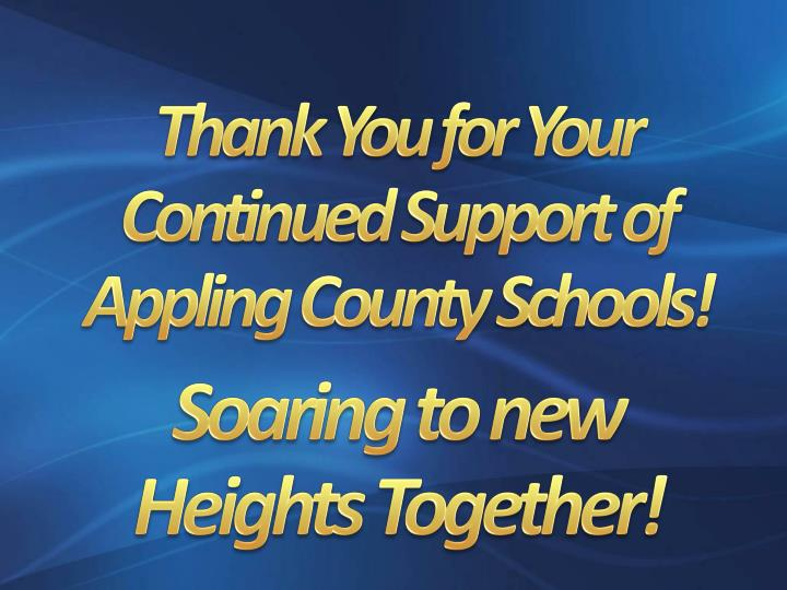 Thank You for Your Continued Support of Appling County Schools!