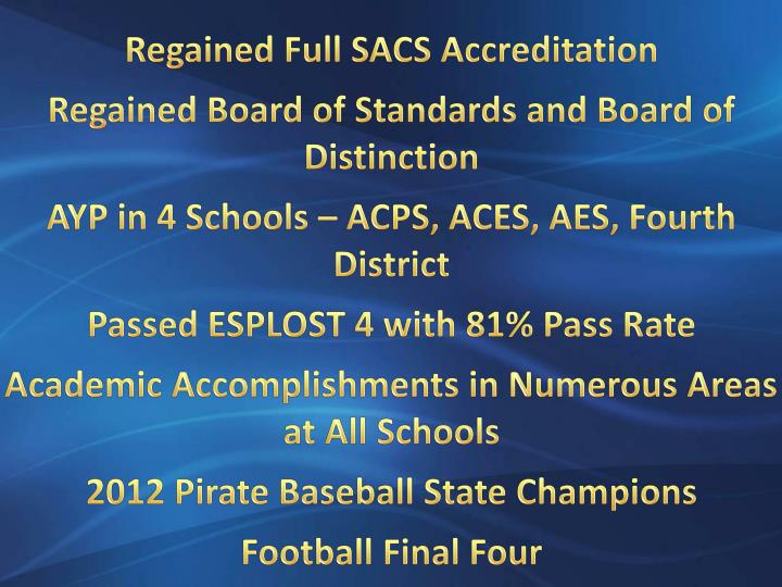 Regained Full SACS Accreditation