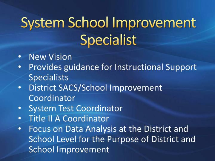 System School Improvement Specialist