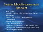 system school improvement specialist