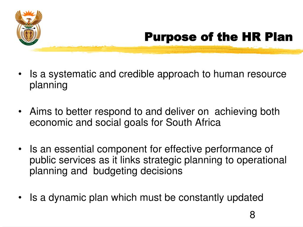 Purpose of the HR Plan