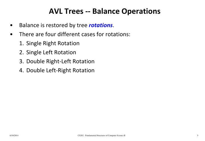 AVL Trees -- Balance Operations