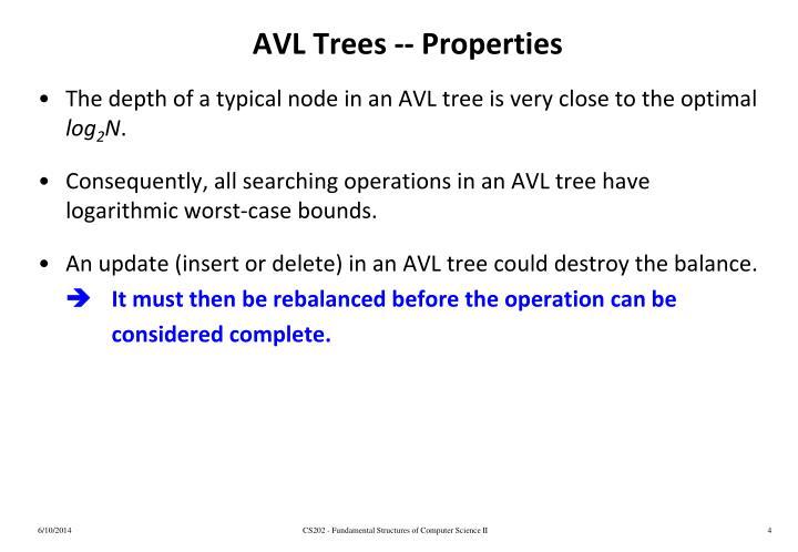 AVL Trees -- Properties