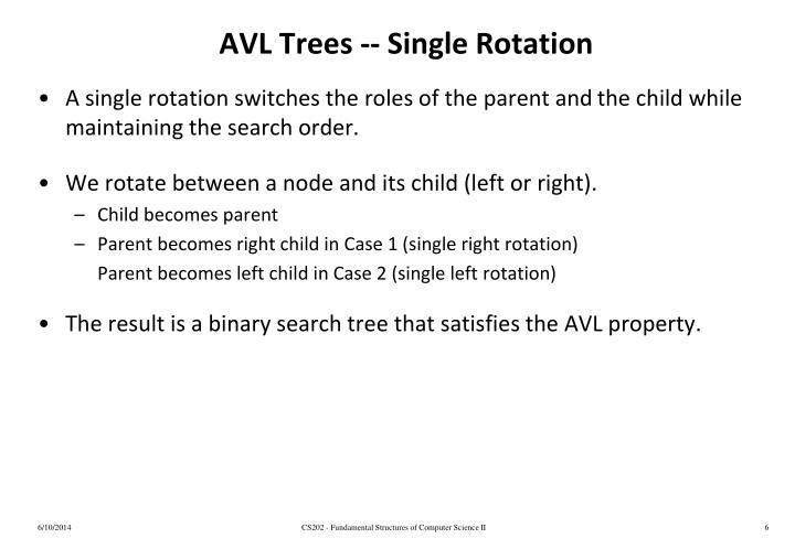 AVL Trees -- Single Rotation