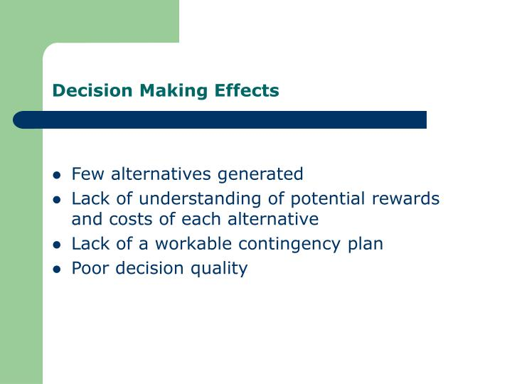 Decision Making Effects