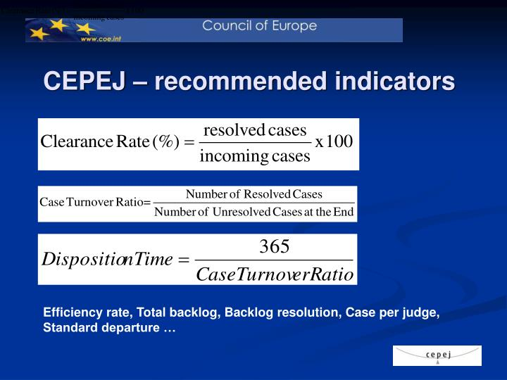 CEPEJ – recommended indicators