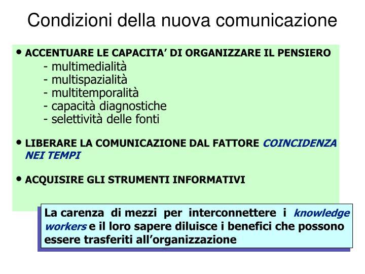 Condizioni della nuova comunicazione