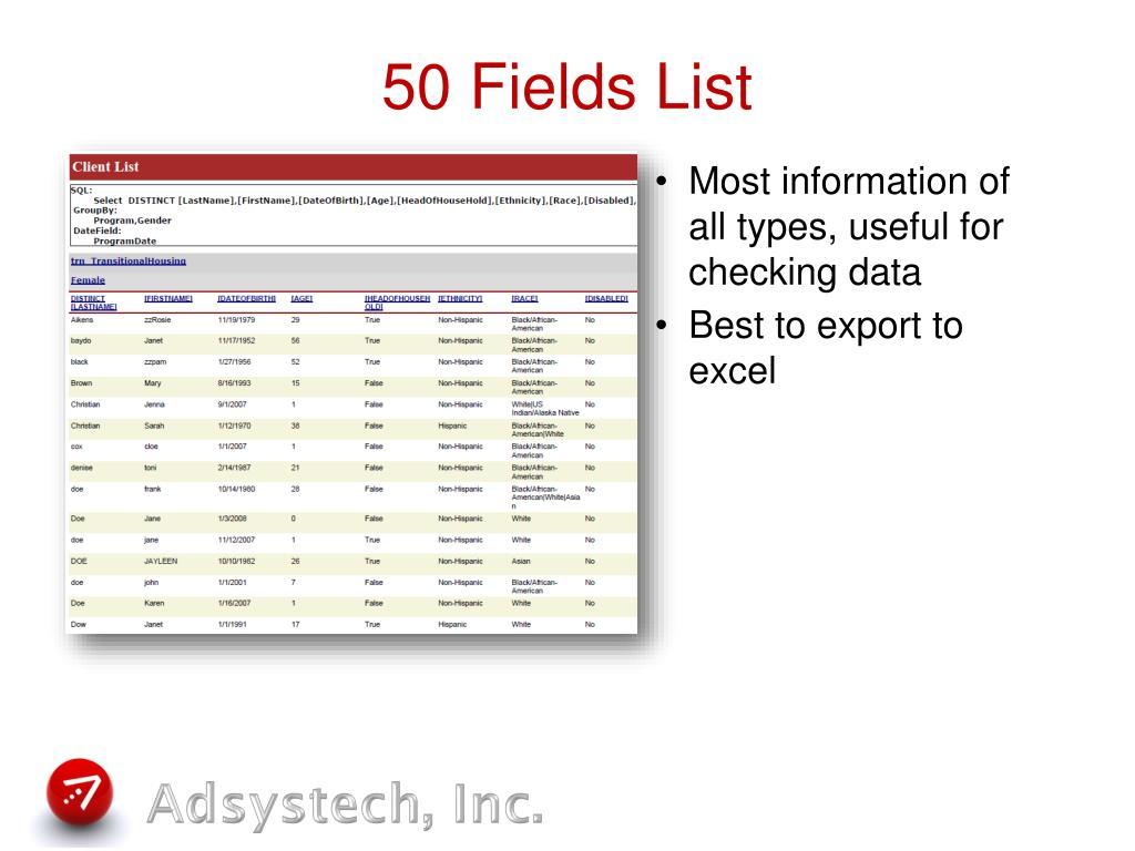 50 Fields List